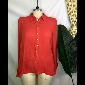 forever 21 orange open back tunic top blouse 1x